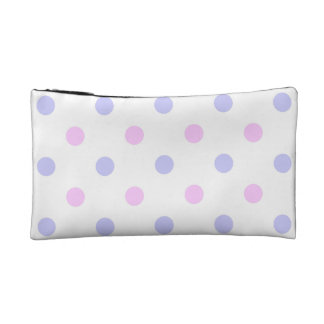 Polka Dot Pattern - Pale Pink and Pale Purple Makeup Bags