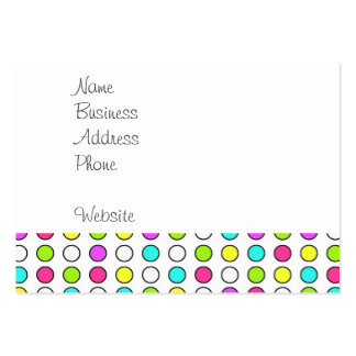 Polka Dot Pattern Pink Teal Lime Green Yellow Large Business Cards (Pack Of 100)