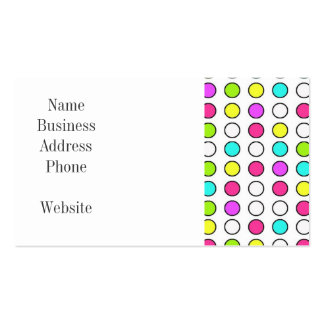 Polka Dot Pattern Pink Teal Lime Green Yellow Business Card Templates