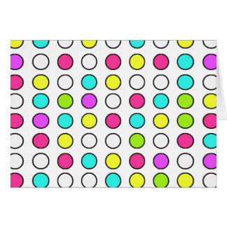 Polka Dot Pattern Pink Teal Lime Green Yellow Card