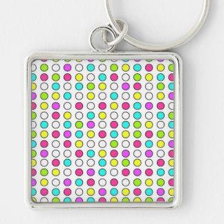 Polka Dot Pattern Pink Teal Lime Green Yellow Key Chain