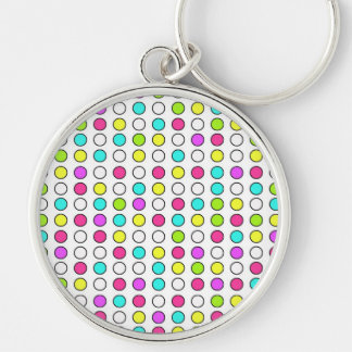 Polka Dot Pattern Pink Teal Lime Green Yellow Keychain