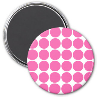 Polka Dot Pattern Print Design Hot Pink Polka Dots 3 Inch Round Magnet