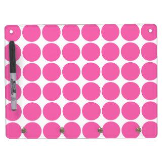 Polka Dot Pattern Print Design Hot Pink Polka Dots Dry Erase Board With Keychain Holder