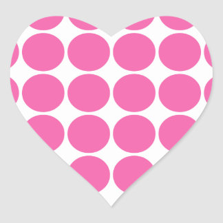 Polka Dot Pattern Print Design Hot Pink Polka Dots Heart Sticker