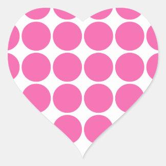 Polka Dot Pattern Print Design Hot Pink Polka Dots Heart Sticker