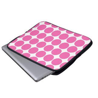Polka Dot Pattern Print Design Hot Pink Polka Dots Laptop Computer Sleeves
