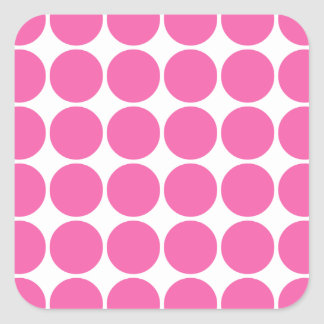 Polka Dot Pattern Print Design Hot Pink Polka Dots Square Sticker