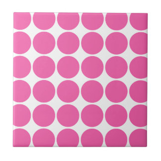 Polka Dot Pattern Print Design Hot Pink Polka Dots Tile