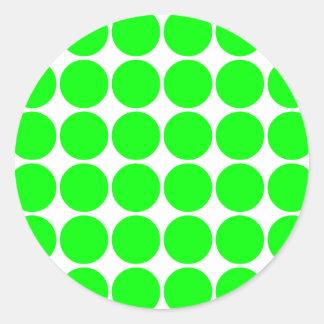 Polka Dot Pattern Print Design : Lime Polka Dots Classic Round Sticker