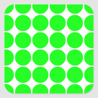 Polka Dot Pattern Print Design : Lime Polka Dots Square Sticker