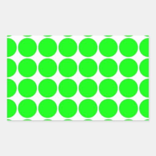 Polka Dot Pattern Print Design : Lime Polka Dots Rectangular Stickers