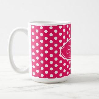 Polka dot pattern red pink & white mug