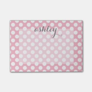 Polka Dot Pattern with Custom Name Post-it® Notes