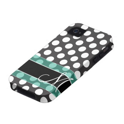 Polka Dot Pattern with Monogram iPhone 4 Case