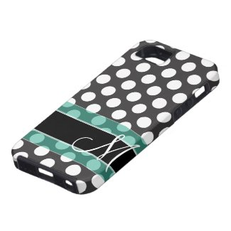 Polka Dot Pattern with Monogram iPhone 5 Covers