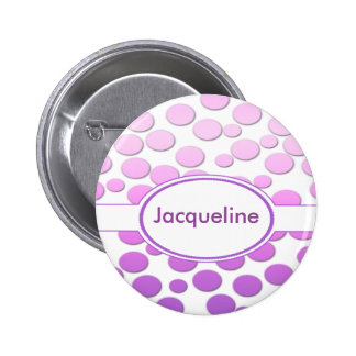 Polka Dot Pattern with Monogram    ~Pink to purple 2 Inch Round Button