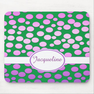 Polka Dot Pattern with Monogram    ~Pink to purple Mouse Pad