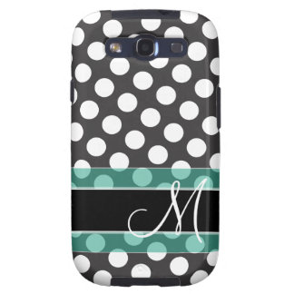 Polka Dot Pattern with Monogram - teal black Galaxy SIII Cases