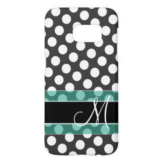 Polka Dot Pattern with Monogram - teal black Samsung Galaxy S7 Case