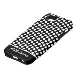Polka Dot Pattern with Name - black and white iPhone 5 Case