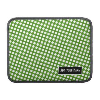 Polka Dot Pattern with Name - green and black MacBook Sleeve