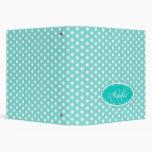 Polka dot patterned aqua mint add your name folder 3 ring binders