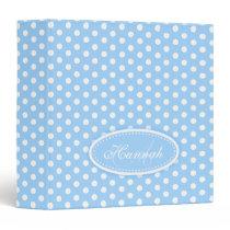 Polka dot patterned pale blue add your name folder