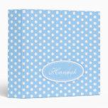 Polka dot patterned pale blue add your name folder binder