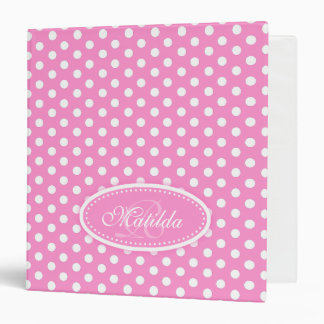 Polka dot patterned pink add your name folder