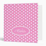 Polka dot patterned pink add your name folder binder