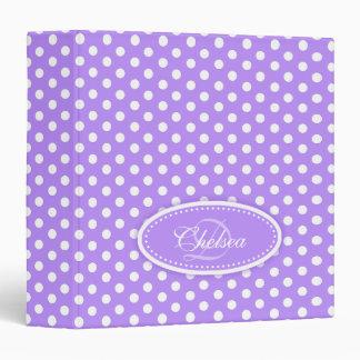 Polka dot patterned purple add your name folder