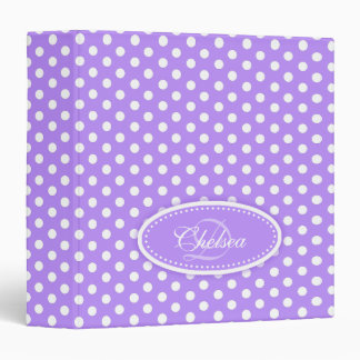 Polka dot patterned purple add your name folder 3 ring binders