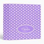 Polka dot patterned purple add your name folder 3 ring binders
