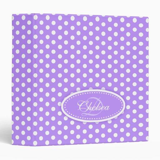Polka dot patterned purple add your name folder vinyl binder