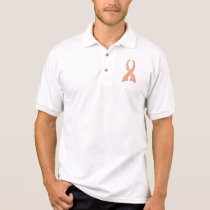 Polka Dot Peach Ribbon Uterine Cancer Polo Shirt