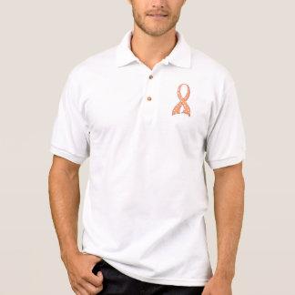Polka Dot Peach Ribbon Uterine Cancer Polo T-shirt