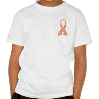 Polka Dot Peach Ribbon Uterine Cancer T-shirt