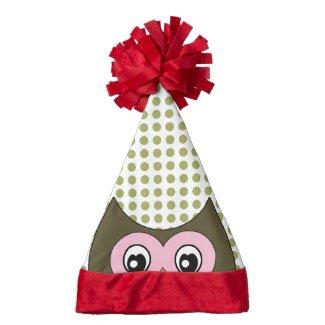 Polka Dot Peek a Boo Owl Santa Hat