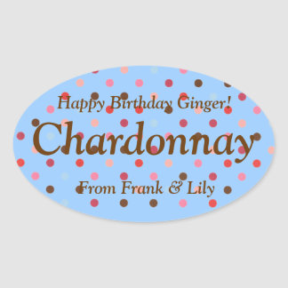 Polka Dot Personalized Chardonnay Wine Gift Label