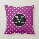 Polka Dot Personalized Monogram Throw Pillow