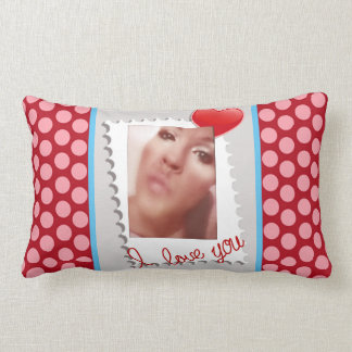 Polka Dot Personalized Valentines Day Photo Lumbar Pillow