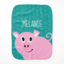 Polka Dot Pig Personalized Baby Animal Bib Green