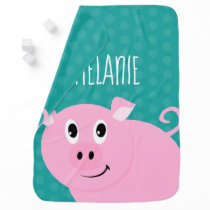 Polka Dot Pig Personalized Baby Animal Bib Green Baby Blanket