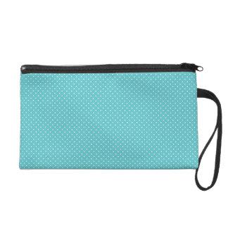 Polka dot pin dots cute retro blue pattern wristlet clutches