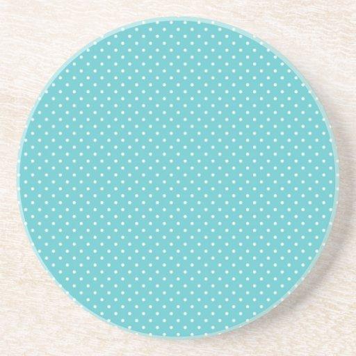 Polka dot pin dots girly chic blue pattern beverage coasters