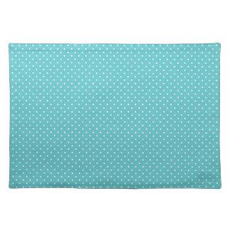 Polka dot pin dots girly chic blue pattern cloth placemat
