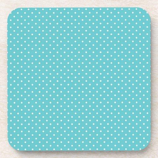 Polka dot pin dots girly chic blue pattern beverage coaster