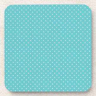 Polka dot pin dots girly chic blue pattern drink coaster
