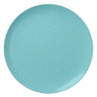 Polka dot pin dots girly chic blue pattern plates